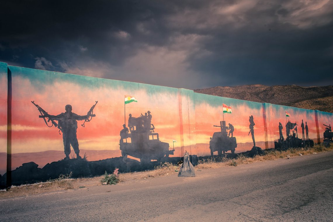 Peshmerga mural along the road near Amediyah // Iraqi kurdistan