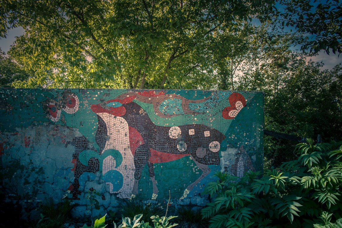 Soviet mosaic lost in the green // Georgia